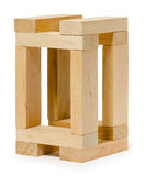 Structure of wooden bricks, looks like house Royalty Free Stock Photography