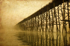 Structure of wooden bridge in old image. Structure of longest wooden bridge in old image Royalty Free Stock Photos