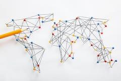 Structure of world economy, communication network stock image