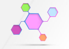 Structured diagram - information in hexagons - alg Stock Photo