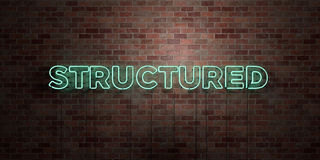 STRUCTURED - fluorescent Neon tube Sign on brickwork - Front view - 3D rendered royalty free stock picture Royalty Free Stock Photos