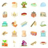 Structured icons set, cartoon style Royalty Free Stock Photos