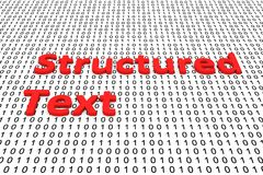 Structured text. In the form of binary code, 3D illustration Stock Image