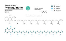 Structureel chemisch moleculair formule en model van menaquinone-7 De atomen worden vertegenwoordigd als gebieden met kleurencoda royalty-vrije illustratie