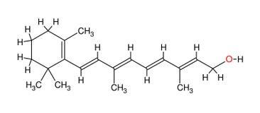 Structurele formule van retinol Royalty-vrije Stock Afbeeldingen