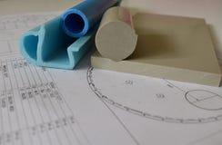 Structurele tekening van tank, zinkput en kunststof voor zijn productie stock fotografie