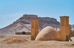 Structures antiques dans le désert, Yazd, Iran images libres de droits