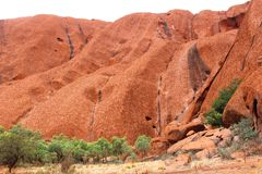 Structures in the Unesco Ayers Rock in Australia Stock Photography