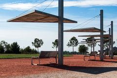 Structures of benches and shade platforms. Detail royalty free stock photo
