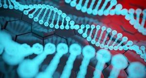 Structures détaillées d'ADN d'humain abstrait sur le fond d'hexagone 3d Image stock