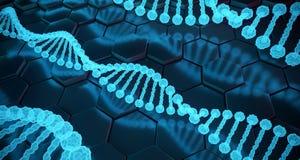 Structures détaillées d'ADN d'humain abstrait sur le fond d'hexagone 3d Photographie stock