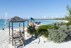 Structures de plage d'île des Caraïbes Photos libres de droits