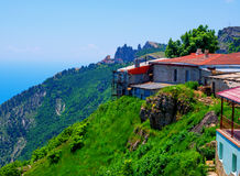 Structures on the edge of the plateau of Mount Ai-Petri Republic of Crimea.  royalty free stock image