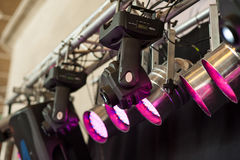 Structures of stage illumination lights equipment Stock Photo
