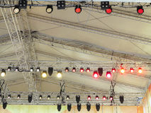 Structures of stage illumination lights equipment Royalty Free Stock Images