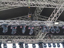 Structures of stage illumination spotlights equipment and speake Stock Photography
