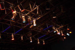 Structures of stage lights equipment Royalty Free Stock Image