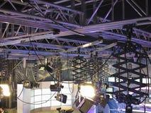 Structures of tv studio illumination equipment and projectors Stock Photo