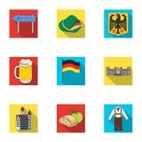 Structuur, architectuur, aard, en ander Webpictogram in vlakke stijl Dessert, hoed, veerpictogrammen in vastgestelde inzameling Stock Afbeeldingen