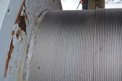 Structuur: roestige staaldraad op een kabeltrommel Stock Afbeeldingen