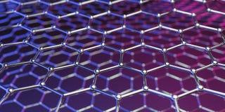 Structuur van de Graphene de moleculaire nano technologie op een purper-roze achtergrond - het 3d teruggeven vector illustratie