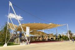 Structuur van het Decumano de trekmembraan, EXPO 2015 Milaan Royalty-vrije Stock Foto's