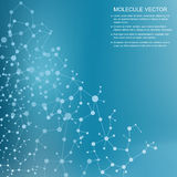 Structuurmolecule en communicatie DNA, atoom, neuronen Vector Illustratie