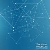 Structuurmolecule en communicatie DNA, atoom, neuronen Royalty-vrije Illustratie