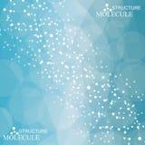 Structuurmolecule en communicatie DNA, atoom, neuronen Stock Illustratie