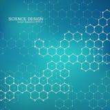 Structuurmolecule van DNA en neuronen Structureel atoom chemische samenstellingen Geneeskunde, wetenschap, technologieconcept Stock Foto
