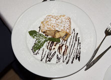 Strudel επιδορπίων πιτών της Apple κέικ Σαρλόττα με τη φωτογραφία μεντών παγωτού Στοκ φωτογραφίες με δικαίωμα ελεύθερης χρήσης