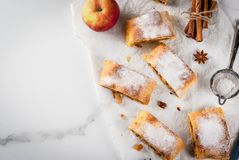 Strudel της Apple με τα καρύδια και τις σταφίδες Στοκ φωτογραφίες με δικαίωμα ελεύθερης χρήσης