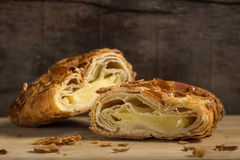 Strudel with almonds and vanilla ice cream royalty free stock photos