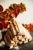 Strudel Apple και σκόνη ζάχαρης Μπισκότο από την ξεφγμένη δοκιμή στο γκρίζο υπόβαθρο Επιδόρπιο με τους καρπούς Διάστημα αντιγράφω Στοκ Εικόνες
