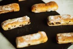 Strudel Apple και σκόνη ζάχαρης Μπισκότο από την ξεφγμένη δοκιμή στο γκρίζο υπόβαθρο Επιδόρπιο με τους καρπούς Διάστημα αντιγράφω Στοκ Εικόνα