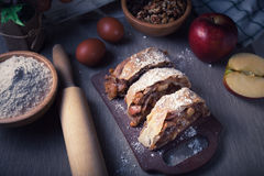 Strudel. Apple strudel homemade with ingredients Stock Image