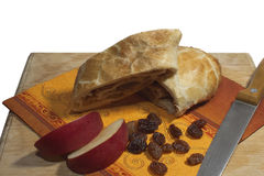 Strudel with apples. And raisins Stock Photography
