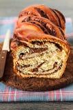 Strudel-Brioche mit Schokolade lizenzfreie stockfotos