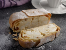 Strudel with cheese and raisins Royalty Free Stock Photo