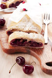 Strudel  with cherry Stock Photography