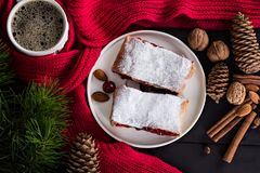 Strudel with a cherry. Cherry pie. Pie, strudel with berries  With winter decor. Cozy food. Winter, New Year's still life Stock Photos