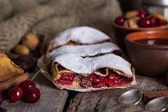 Strudel with a cherry. Cherry pie. Food on the nature.  Pie, strudel with berries  With autumn decor. Cozy food. Style rustic. Autumn still life Royalty Free Stock Photography