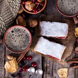 Strudel with a cherry. Cherry pie. Food on the nature. Pie, strudel with berries With autumn decor. Cozy food. Style rustic. Autumn still life Stock Photo