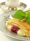 Strudel with cherry, closeup Royalty Free Stock Photos