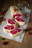Strudel with cherry on paper napkin Royalty Free Stock Photography