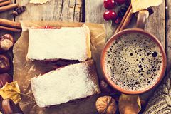 Strudel with a cherry. Cherry pie. Food on the nature. Pie, strudel with berries With autumn decor. Cozy food. Style rustic. Autumn still life Stock Photography