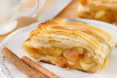 Strudel with cinnamon. On the plate Royalty Free Stock Images