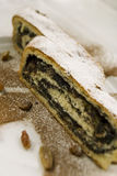 Strudel close up. Strudel with poppy seed filling close up Royalty Free Stock Photos