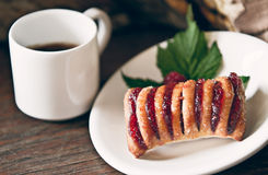 Strudel and coffee Stock Images