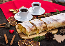 Strudel with custard and orange. Christmas Stollen. Christmas table decoration Stock Photography